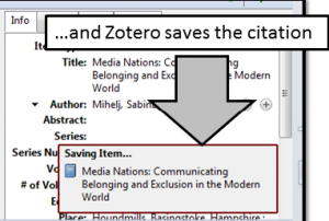 Click Broswer itcon so save citation for item