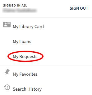my requests menu in Primo