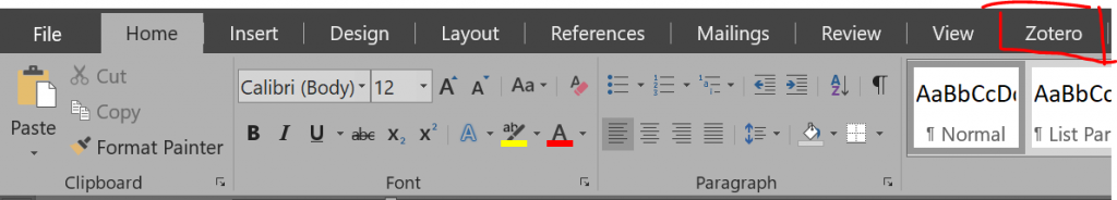 Zotero tab in Microsoft Word main Menu