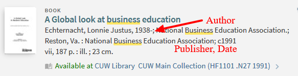 Print book example in primo search results