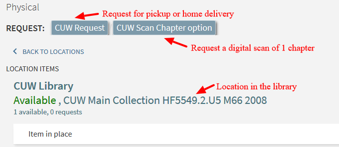 Screen shot of the Primo library catalog request options with red arrows and descriptions