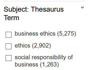 Ebsco subject terms in results