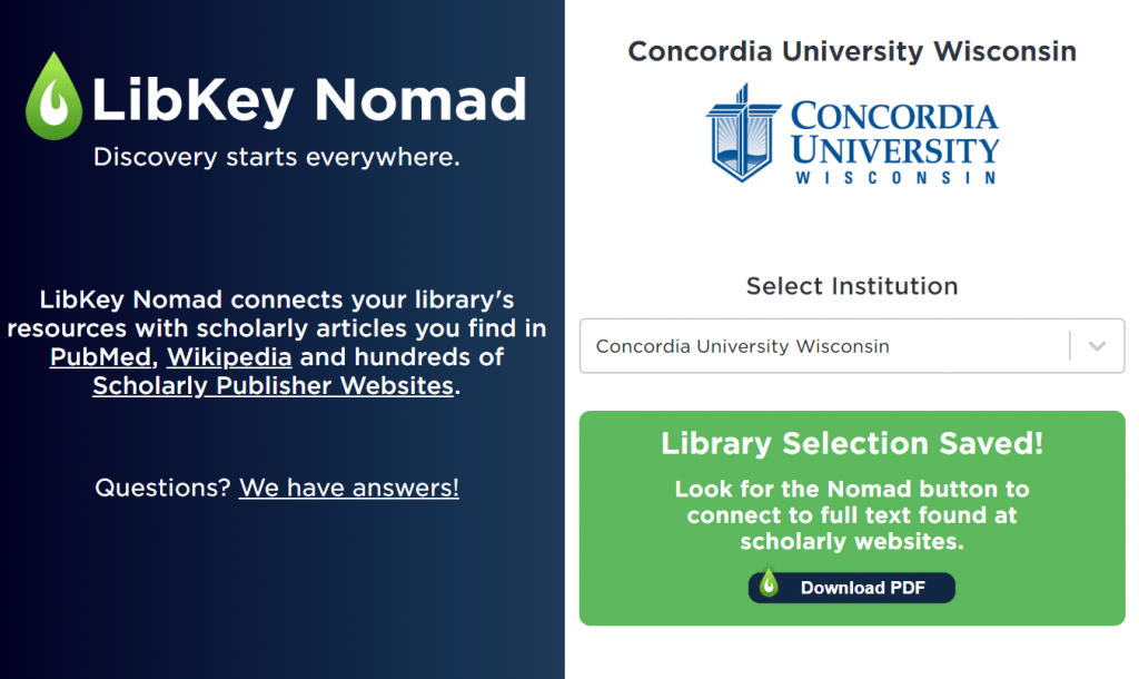 Screen shot of success message when adding concordia to libkey nomad