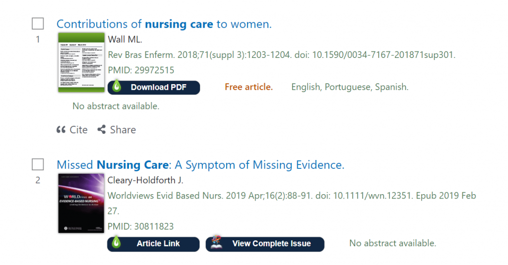 Screenshot of libkey nomad in pubmed