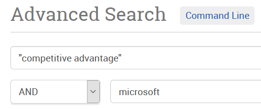 """screen shot of advanced search for: """"competitive advantage"""" AND microsoft"""