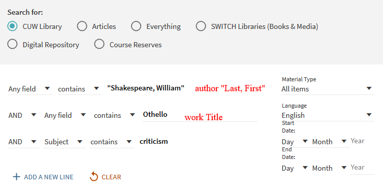 Search for the author's name, work title, and the word criticism