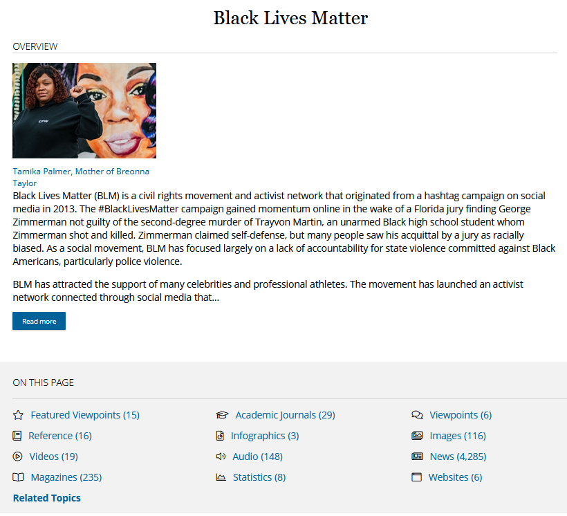 Screen shot of the Black lives matter page with a summary and a list of resources