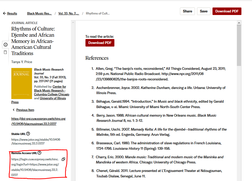Screen shot of jstor database with red box around remote access link