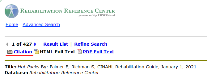 Screen shot of rehab reference center article page