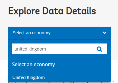 one the homepage, search for the country name inside the select an economy search box
