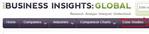 Click on case studies from the top menu bar in Business insights global