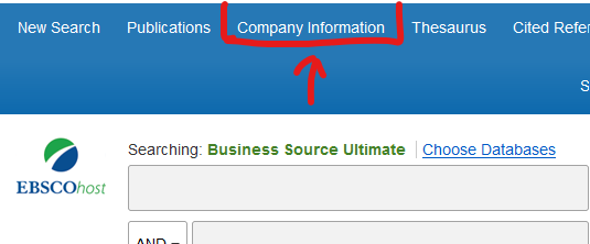 Click the company information option from the top of Business source ultimate