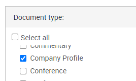 Search for the company name and select company profile from the document type