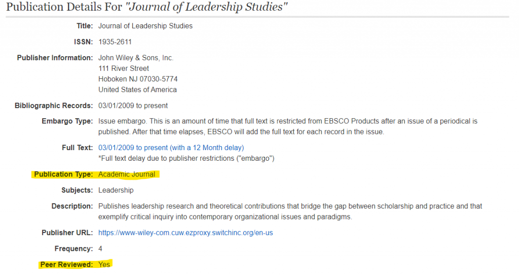 screen shot of database page for a journal peer reivewed is highlighted